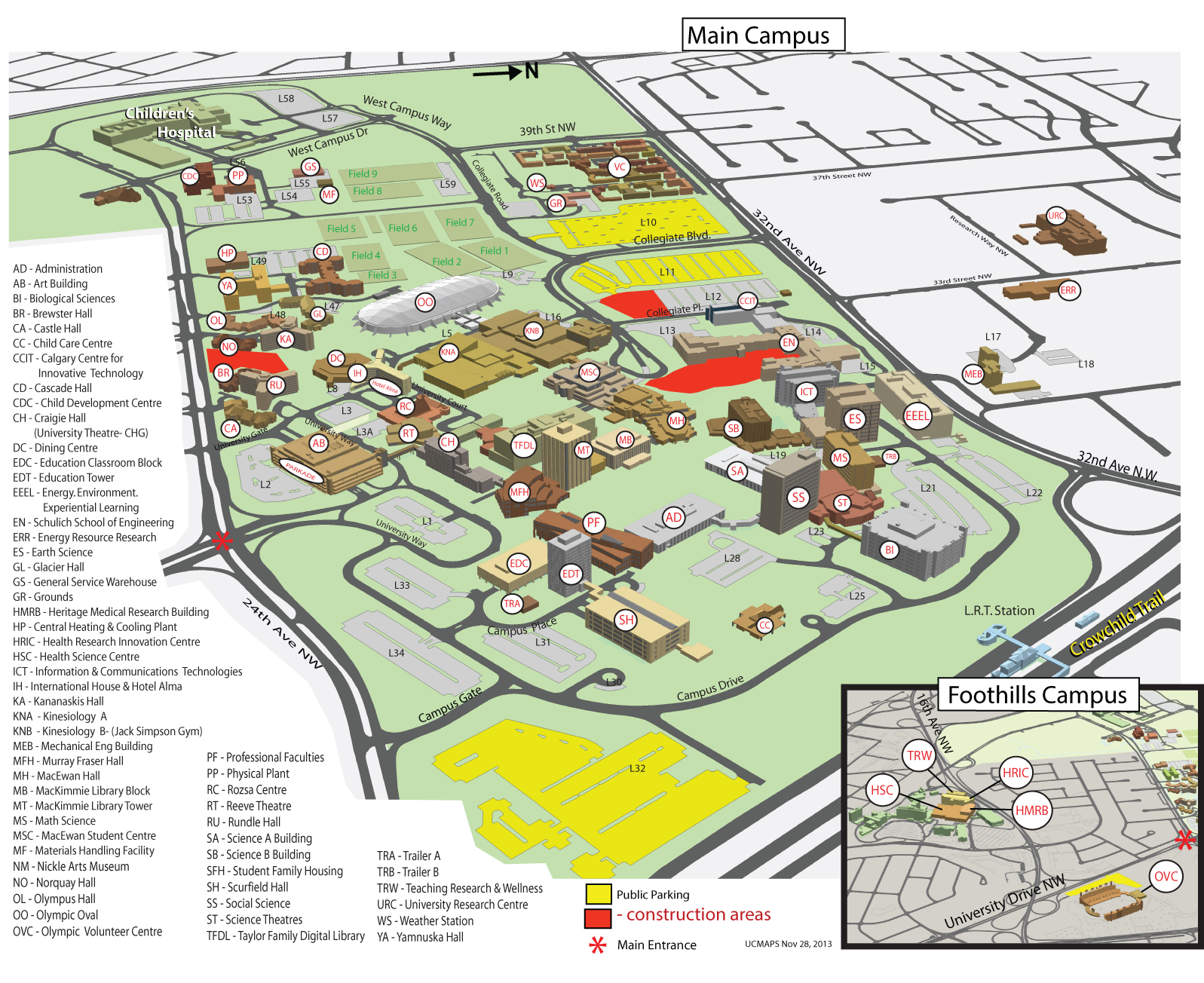 U Of C Campus Map Contact | Healthy Aging Lab | University of Calgary